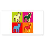 Bullterrier Silhouette Pop Art Sticker (Rectangle