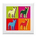 Bullterrier Silhouette Pop Art Tile Coaster