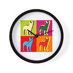 Bullterrier Silhouette Pop Art Wall Clock