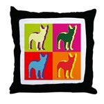 Bullterrier Silhouette Pop Art Throw Pillow