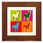 Bullterrier Silhouette Pop Art Framed Tile