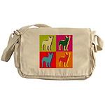 Bullterrier Silhouette Pop Art Messenger Bag