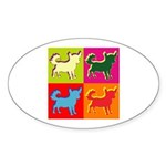 Chihuahua Silhouette Pop Art Sticker (Oval)