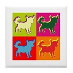 Chihuahua Silhouette Pop Art Tile Coaster