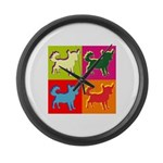 Chihuahua Silhouette Pop Art Large Wall Clock