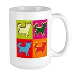 Chihuahua Silhouette Pop Art Large Mug