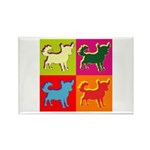 Chihuahua Silhouette Pop Art Rectangle Magnet (10
