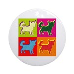 Chihuahua Silhouette Pop Art Ornament (Round)