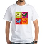 Chihuahua Silhouette Pop Art White T-Shirt