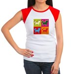 Chihuahua Silhouette Pop Art Women's Cap Sleeve T-