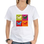 Chihuahua Silhouette Pop Art Women's V-Neck T-Shir