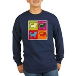Chihuahua Silhouette Pop Art Long Sleeve Dark T-Sh