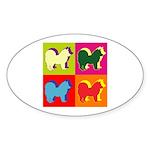 Chow Chow Silhouette Pop Art Sticker (Oval)