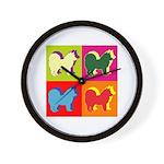 Chow Chow Silhouette Pop Art Wall Clock