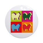 Chow Chow Silhouette Pop Art Ornament (Round)