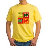 Chow Chow Silhouette Pop Art Yellow T-Shirt