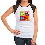 Chow Chow Silhouette Pop Art Women's Cap Sleeve T-
