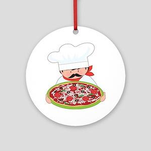 Chef and Pizza Ornament (Round)