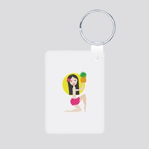 Hawaiian Girl Aluminum Photo Keychain