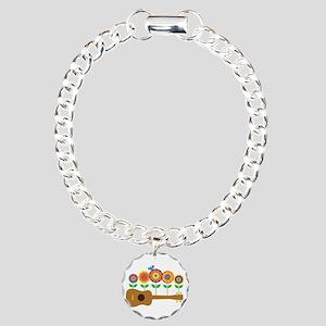 Ukulele Flowers Charm Bracelet, One Charm