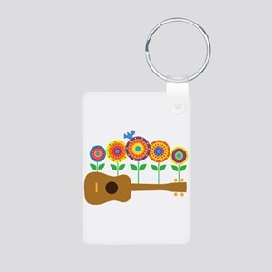 Ukulele Flowers Aluminum Photo Keychain