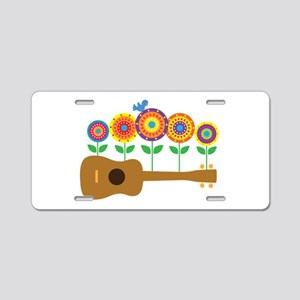 Ukulele Flowers Aluminum License Plate