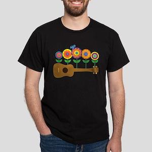 Ukulele Flowers Dark T-Shirt
