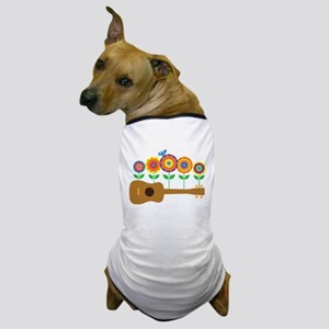 Ukulele Flowers Dog T-Shirt