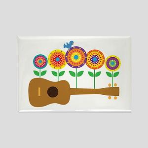 Ukulele Flowers Rectangle Magnet