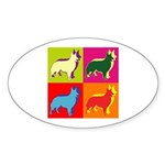 Collie Silhouette Pop Art Sticker (Oval)