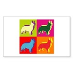 Collie Silhouette Pop Art Sticker (Rectangle 50 pk