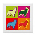 Collie Silhouette Pop Art Tile Coaster