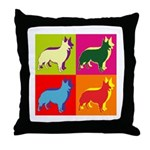 Collie Silhouette Pop Art Throw Pillow