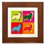 Collie Silhouette Pop Art Framed Tile