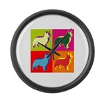 Collie Silhouette Pop Art Large Wall Clock