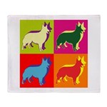 Collie Silhouette Pop Art Throw Blanket