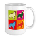 Collie Silhouette Pop Art Large Mug