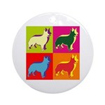Collie Silhouette Pop Art Ornament (Round)