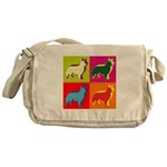 Collie Silhouette Pop Art Messenger Bag