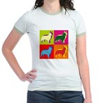 Collie Silhouette Pop Art Jr. Ringer T-Shirt