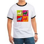 Collie Silhouette Pop Art Ringer T