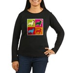 Collie Silhouette Pop Art Women's Long Sleeve Dark