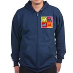 Collie Silhouette Pop Art Zip Hoodie (dark)