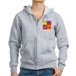 Collie Silhouette Pop Art Women's Zip Hoodie