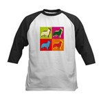 Collie Silhouette Pop Art Kids Baseball Jersey