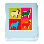 Collie Silhouette Pop Art baby blanket