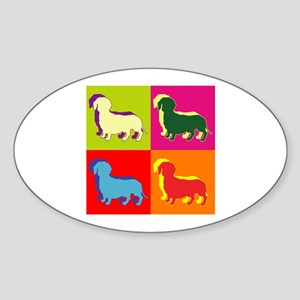 Dachshund Silhouette Pop Art Sticker (Oval)