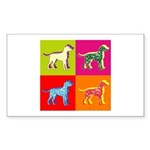 Dalmatian Silhouette Pop Art Sticker (Rectangle 50