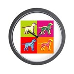Dalmatian Silhouette Pop Art Wall Clock
