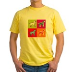 Dalmatian Silhouette Pop Art Yellow T-Shirt